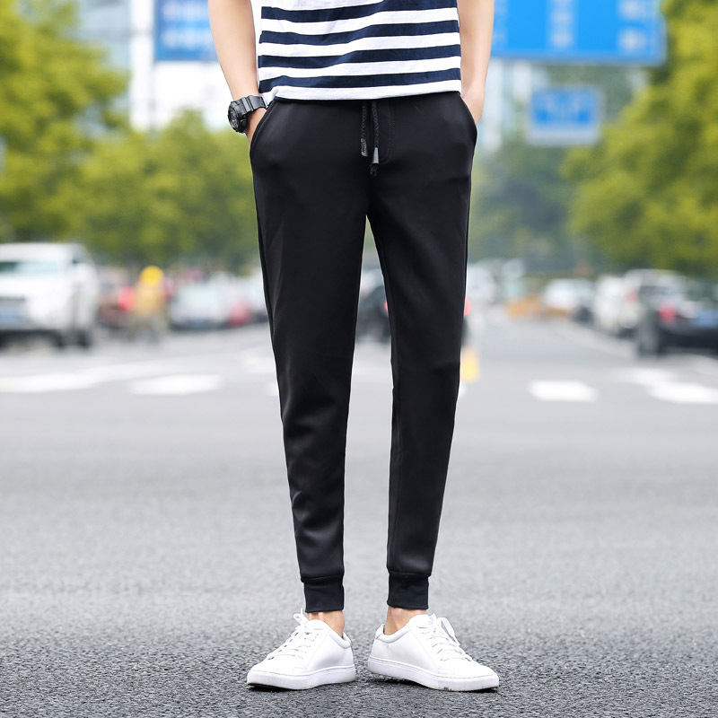 Supply Of Goods 2016 Korean-style Men Thick Harem Gymnastic Pants Sweatpants Casual Pants Black And White With Pattern Ankle Ban