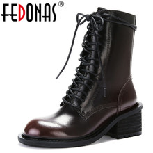 FEDONAS Punk Women Vintage Top Quality Genuine Leather Ankle Boots High Heels Mo