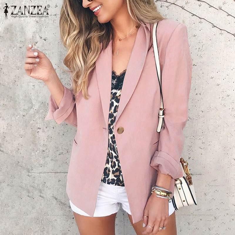 ZANZEA Women's Blazers Suits 2020 Fashion Female Coats Winter Long Sleeve Solid Buttons Outwear Office Work Blazer Overcoats 5XL