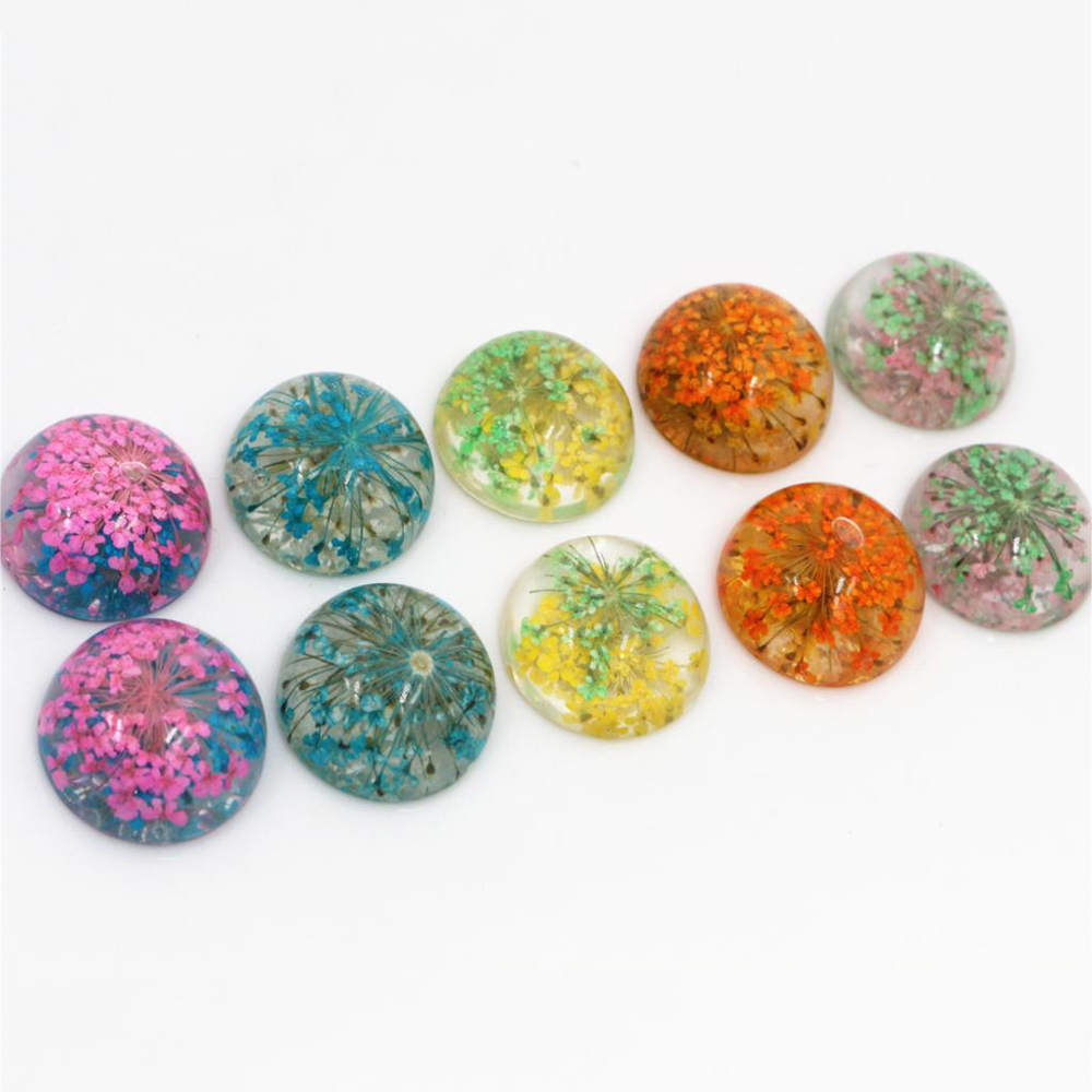 New Fashion 10pcs Fit 20mm Blue White And Orange Yellow And Green Tellow Pink And Blue Natural Dried Flowers Cabochons Cameo