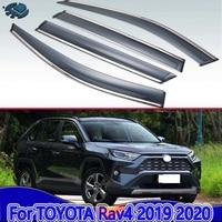 Dla TOYOTA Rav4 (XA50) 2019 2020 akcesoria samochodowe plastikowe zewnętrzne Visor Vent odcienie okno osłona przeciwdeszczowa deflektor 4 sztuk w Markizy i zadaszenia od Samochody i motocykle na