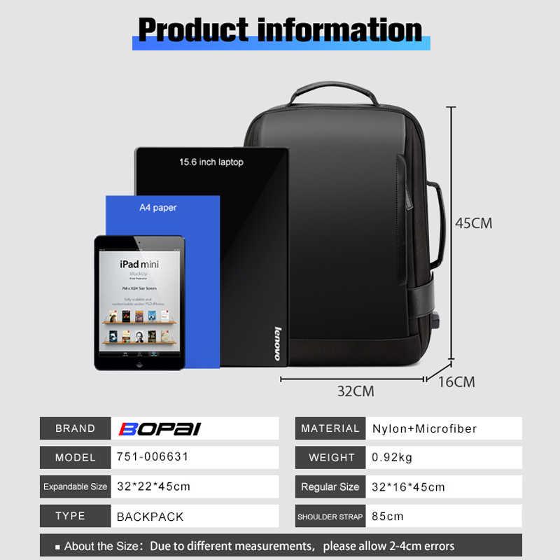 BOPAI marka büyüt sırt çantası USB harici şarj 15.6 inç Laptop sırt çantası omuzlar erkekler Anti-theft su geçirmez seyahat sırt çantası