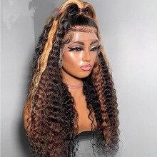 Remy macio onda profunda ombre cinza marrom com raízes escuras cor com cabelo do bebê 180% densidade transparente 13x 4/6 peruca dianteira do laço para mulher