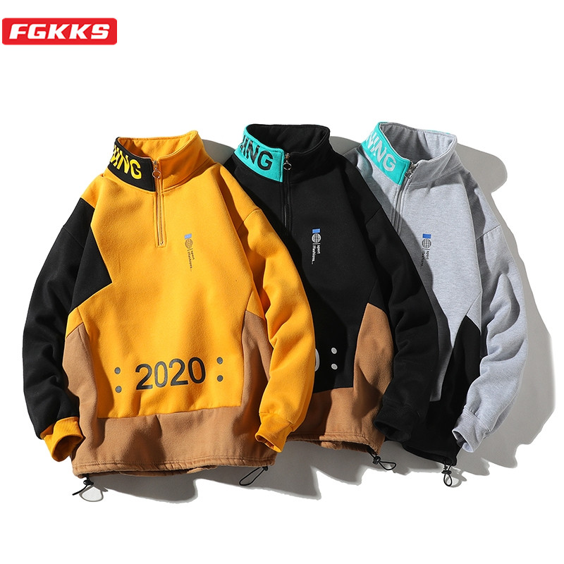 FGKKS Brand Men Print Hoodies Sweatshirts Spring New Men's Fashion Patchwork Sweatshirt High Street Casual Sweatshirt Male
