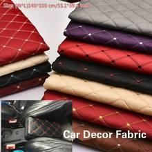 100*140cm bordado tecido xadrez esponja interior do carro telhado tecido assento de carro almofada sofá encerado material estofamento