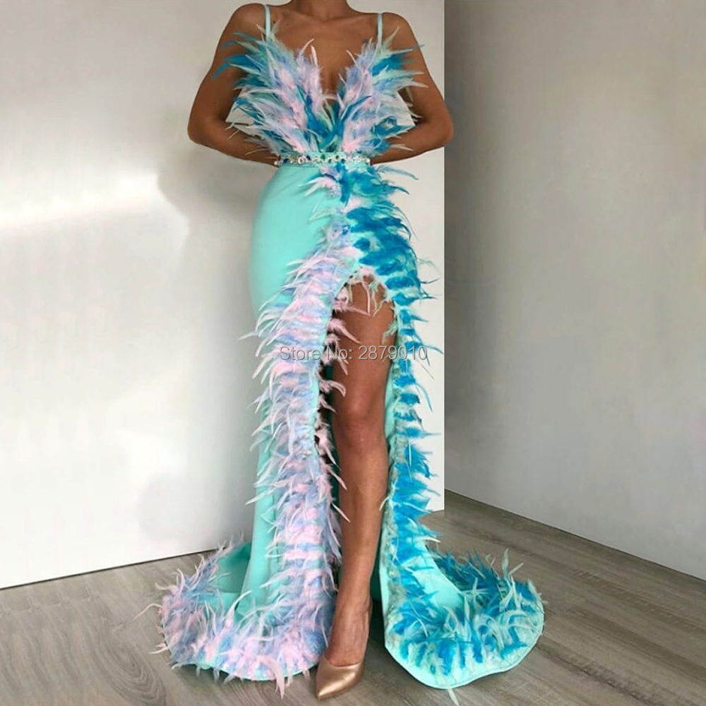 2020 Spaghetti Strap Sheath Evening Dress Floor-Length Beaded Slit Prom Dress Feathers Robe De Soiree Aibye Middle East Dubai