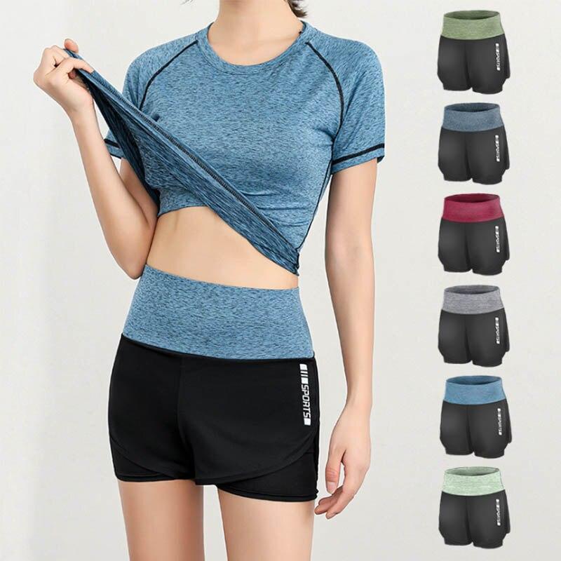 Women Fake Two-piece Sport Shorts High Waist Biker Shorts Femme Jogging Cycling Fitness Shorts Lady Leisure Strethy Shorts