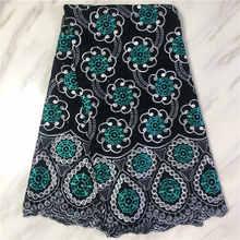 Черный с зеленым Африканский хлопок кружевная ткань вышивкой