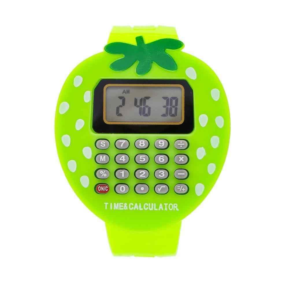 Kolorowy elektroniczny wielofunkcyjny dziecięcy kalkulator truskawkowy zegarek dla mężczyzn kobiety dzieci kalkulator zegar