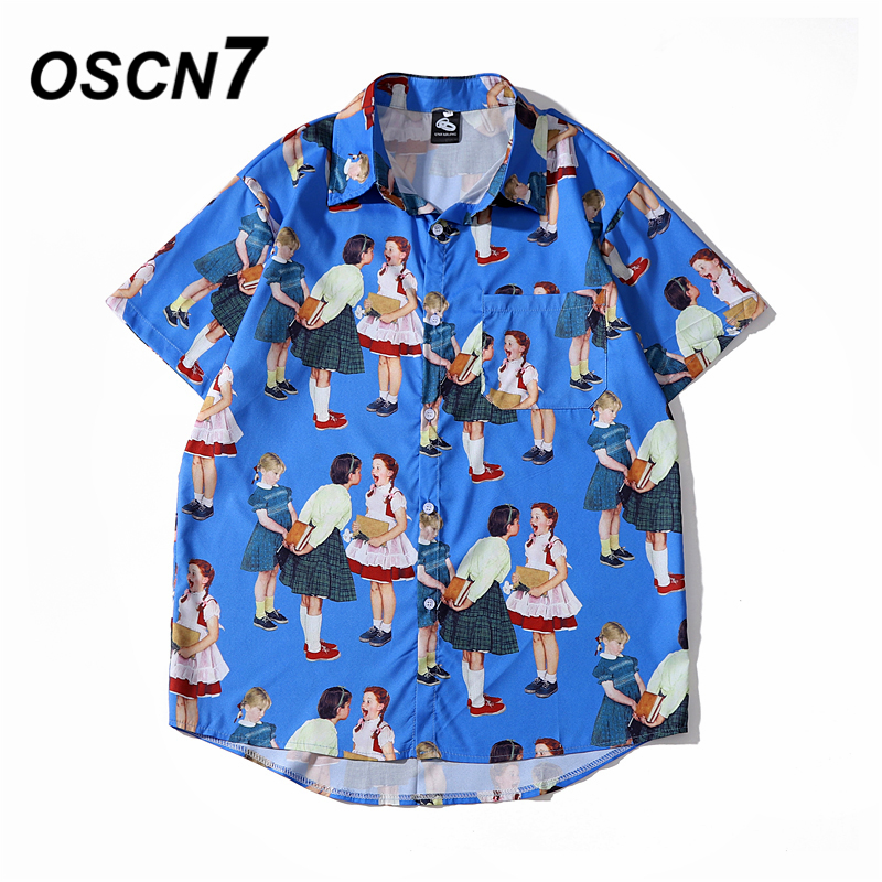 OSCN7 Casual Cloud Printed Short Sleeve Shirt Men Street 2020 Hawaii Beach Oversize Women Fashion Harujuku Shirts For Men 2059