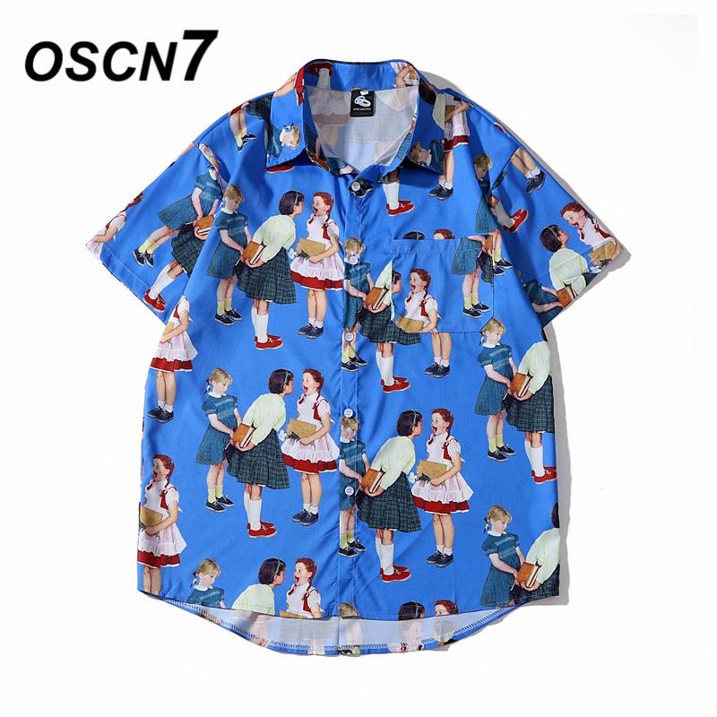 OSCN7 Casual Cloud Printed Short Sleeve Shirt Men Street 2020 Hawaii Beach Oversize Women Fashion Harujuku Shirts For Men 2059