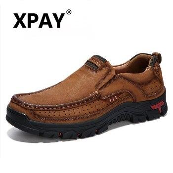 ¡Novedad! Mocasines de cuero genuino XPAY, mocasín para hombre, zapatillas planas de alta calidad, zapatos informales para hombre, calzado para hombre, zapatos náuticos, talla 38-48