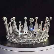 Wedding Hair Crown Bridal Rhinestone King Queen Full Vintage Round Shining Diadem for Festival Baroque Tiara