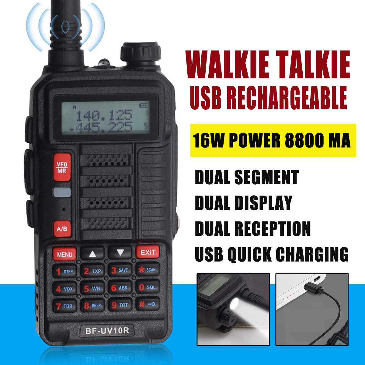 BF UV10R Walkie Talkie Ergonomic With Earphone Usb Charging Cable 16W 8800mah EU Plug Flashlight LED Display Dust-proof Design
