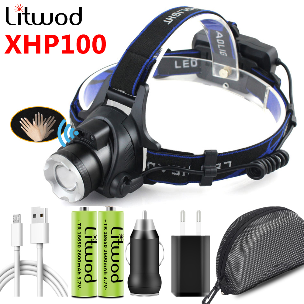 The Most Brightest XHP100 Led Headlamp Zoomable Sensor Switch Head Flashlight Lamp Torch Headlights Usb Rechargeable Battery