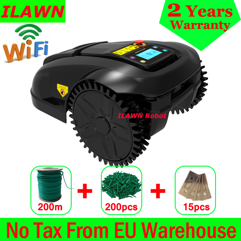 WiFi APP GYROSCOPE Navigation Mower Grass Cutter Robot With Water-proofed Charger,200m Wire,200pcs Pegs