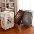 Waterproof Cotton Linen Laundry Basket Dirty Clothes Basket Clothes Storage Basket Japanese Simple Iron Bracket Fabric Folding