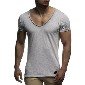 New arrival deep v neck short sleeve men summer short sleeves t shirt slim fit t-shirt men thin top tee casual summer t shirt summer printed pattern o neck short sleeve t shirt blended quick drying gym short sleeves