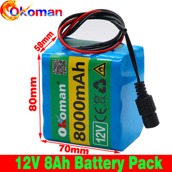 12V 8Ah  protection board battery pack  18650 lithium ion 12V 8000mAh DC12.6V super large capacity rechargeable battery with BMS