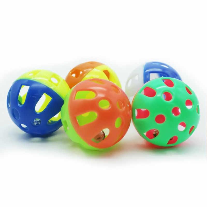 1pc Katten Speelgoed Hollow Bel Grappige Plastic Interactieve Bal Tinkle Puppy Spelen Producten Dia 3 Cm Huisdieren Favoriete Accessoires