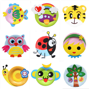 Animal Cartoon Paper Plate Drawing DIY Handmade Craft Toys Material Package Children Creative Puzzle Colorful - discount item  22% OFF Arts & Crafts, DIY Toys