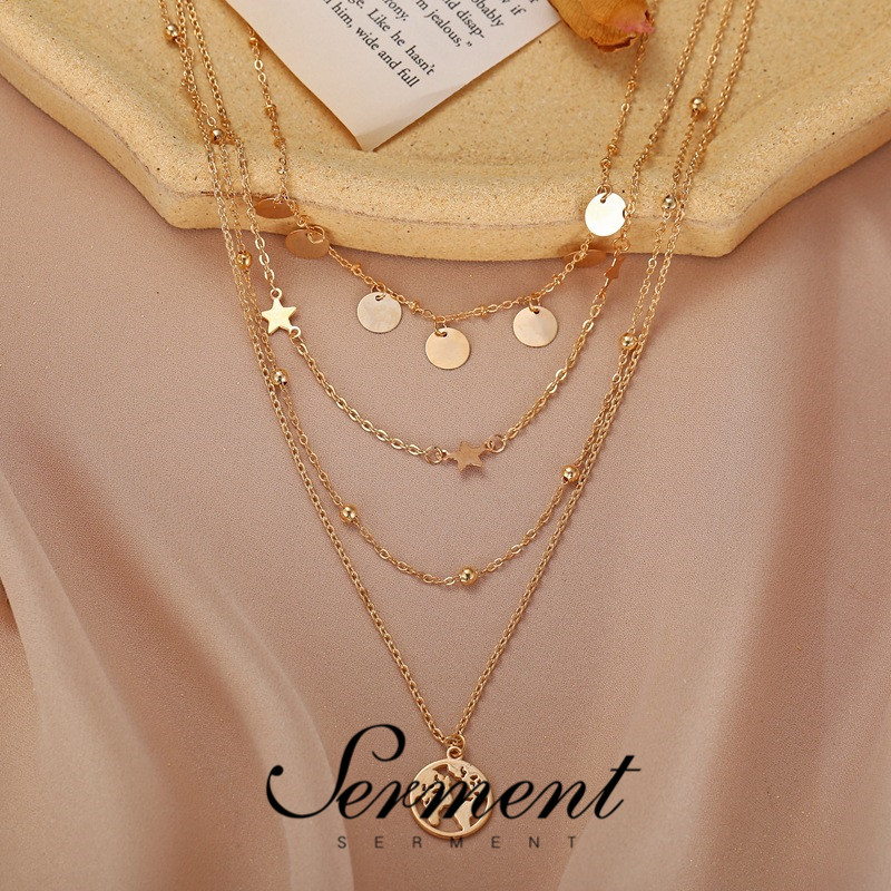 SERMENT Round Piece Five-Pointed Star Pendant Fashion Jewelry Gold Multilayer Necklace for Women Prince Creative Clavicle Chain