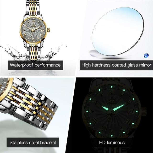 OLEVS Luxury Brand Women Automatic Mechanical Watches Steel Watch Band Watch Waterproof Simple Watch For Women Gift for Women 6