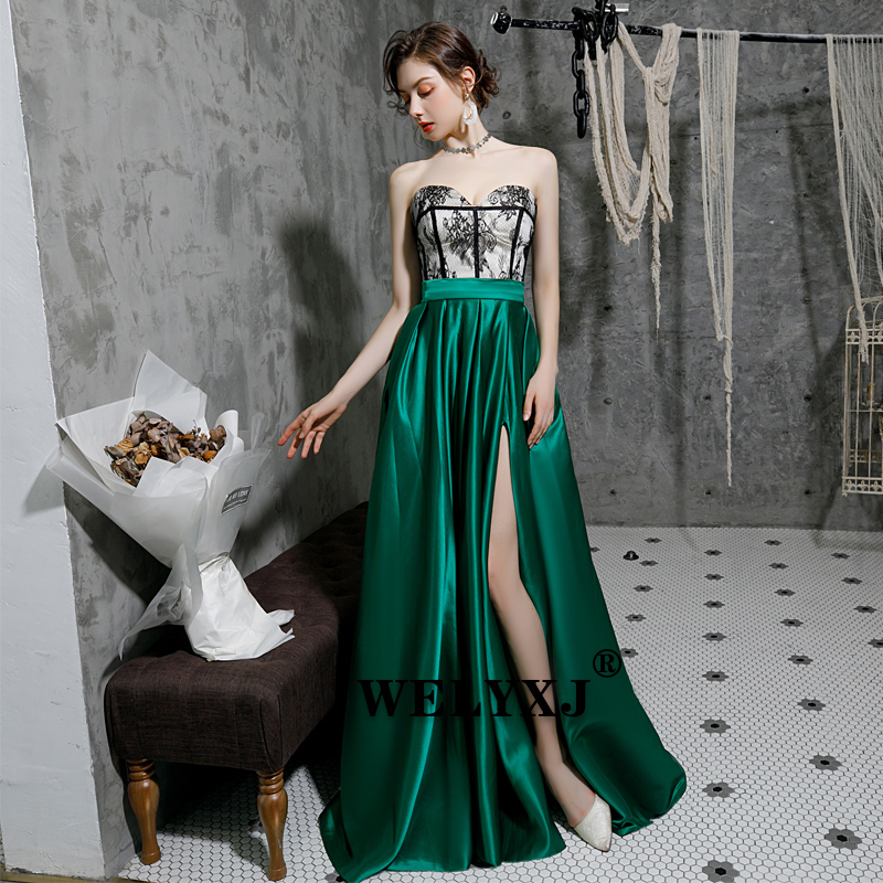 Evening Dresses Long Blue 2019 with Pockets A-line  Off Shoulder Slit  Long  Evening Gown evening dress long dress Sweetheart