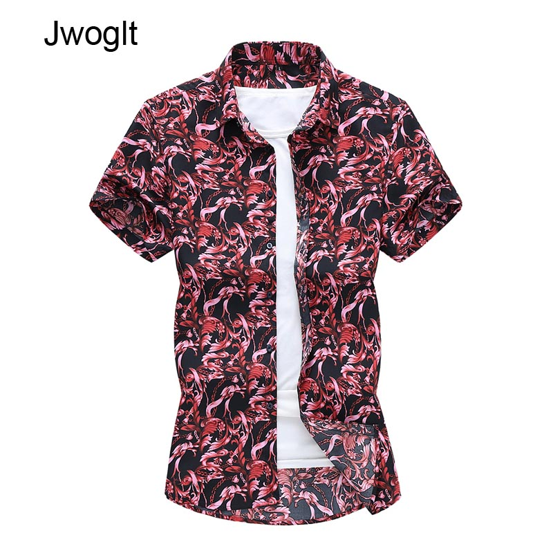 45KG-120KG  Men Hawaiian Short Sleeve Red Shirt Summer Floral Printed Beach Vacation Shirts  5XL 6XL 7XL