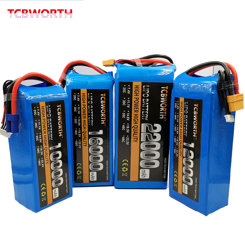 11.1V 14.8V 18.5V 22.2V RC <font><b>LiPo</b></font> Battery 2S 3S 4S 5S <font><b>6S</b></font> 10000 12000 16000 <font><b>22000mAh</b></font> Batteries For RC Drone Quadrotor Airplane Car image