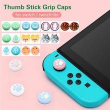 4 sztuk Cute Cartoon uchwyt na kciuk trzymać Cap dla Nintendo Switch NS Lite radość Con kontroler miękkiego silikonu Joystick pokrywa akcesoria