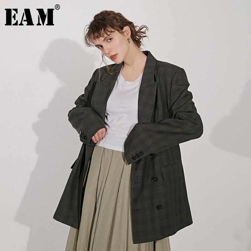 [EAM]  Women Plaid Split Joint Temperament Blazer New Lapel Long Sleeve Loose Fit  Jacket Fashion Tide Spring Autumn 2020 1R094