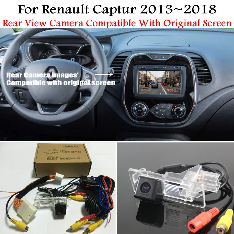 Car Rear View Camera For Renault Captur 2013~2018 With 24Pin Adapter Cable Original Screen Compatible Sets Backup Reverse Camera