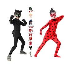 Costume d'halloween pour enfants, combinaison Cosplay Marinette Dupain-Cheng, Costume de dessin animé, bug rouge Tikki et chat Noir Plagg pour garçons et filles