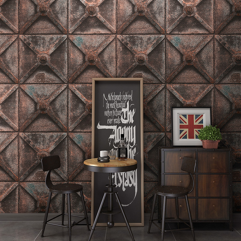 Retro Industrial-Style Rhombus Iron And Steel Wallpaper Salon Cafe Internet Cafe Room Escape Waterproof Wallpaper