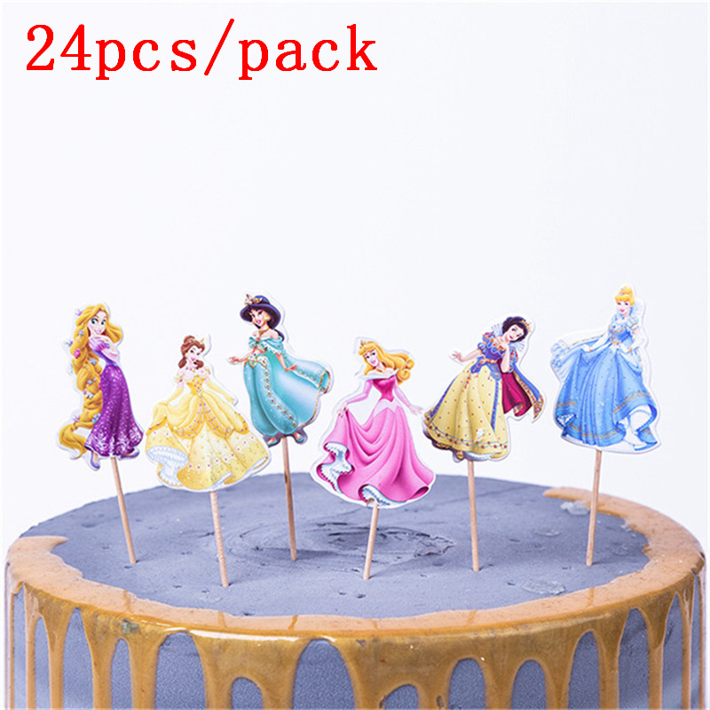 24PCS Decorate Birthday Party Cake Topper Girls Favors Belle Snow White Princess Theme Baby Shower Cupcake Toppers With Sticks