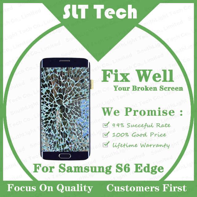 كسر الزجاج استبدال خدمة لسامسونج غالاكسي S6 حافة G925F شاشة الكريستال السائل مع الإطار تجديد اللمس وظيفة إصلاح