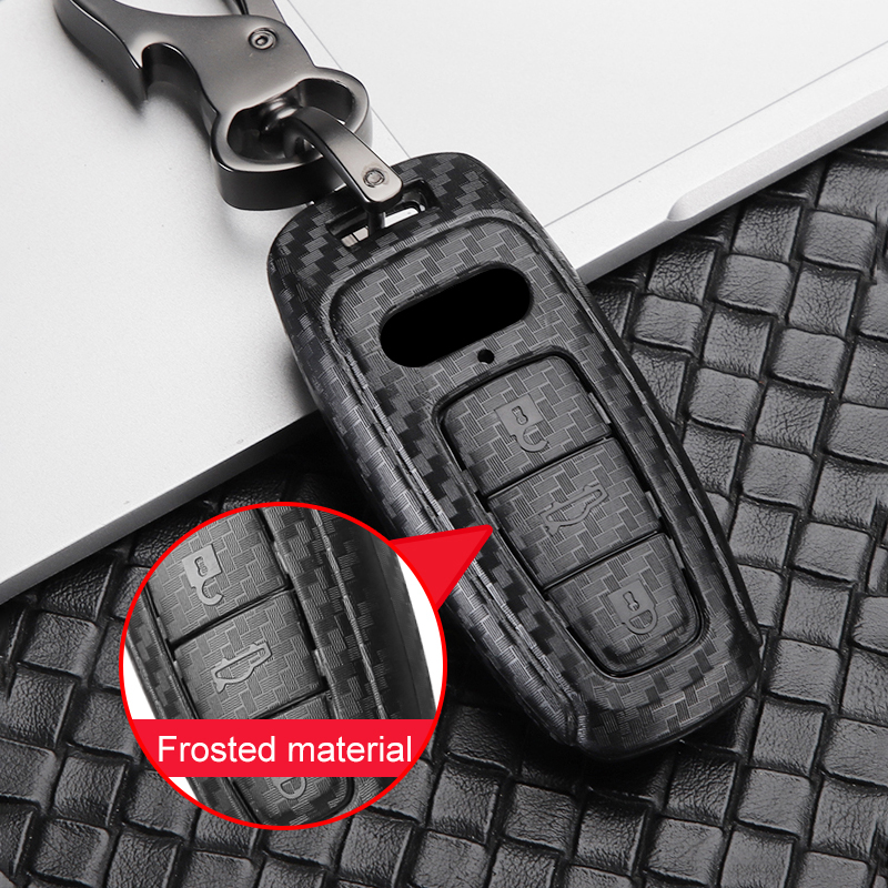cheapest ABS Carbon Fiber Car Remote Key Case Cover Shell For Audi A6 C8 A7 A8 D5 Q8 E-tron E TRON 2018 2019 Car Styling Accessories