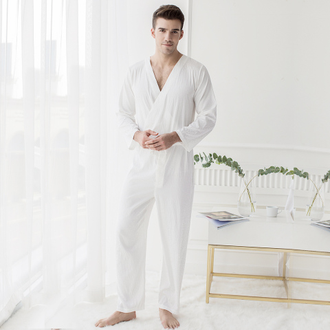 Men Jacquard White Bodysuit One-piece Sleepwear Pantsuit Lounge Wear Homewear Romper Onesie Islamabad