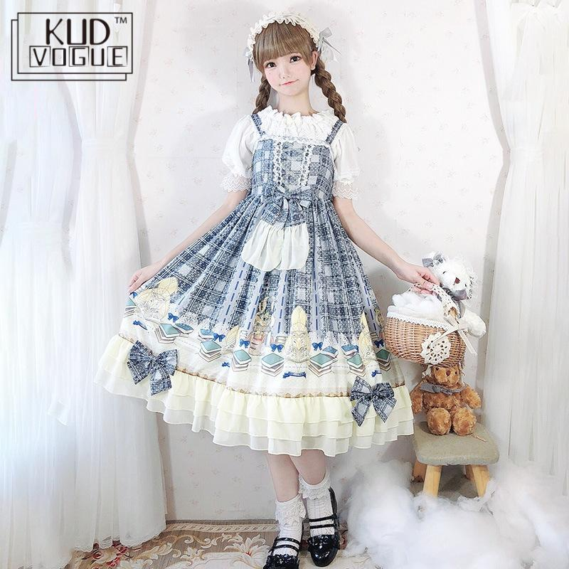 Japanese Sweet Lolita Dress Kawaii Suspenders Grey Printing Plaid Dress Vintage Gothic Princess High Waist Bowknot Ruffle Dress