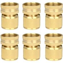 6 Pieces Brass Quick Female Hose End Internal Thread Connector Garden Hose Nozzle(US Thread)