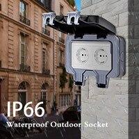 Outdoor Doppel Steckdosen Ip66 Externe Buchse Für Nass Zimmer Oberfläche-montiert Schutzhülle Kontaktieren Eu Standard Outlet
