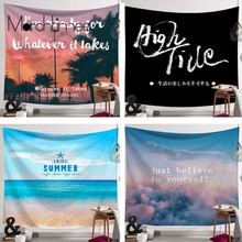 цена на Cityscape Printed Mandala Tapestry Wall Hanging Home Bed Decor Hippie Polyester Letter Motto Tapestry Beach Throw Towel Yoga Mat