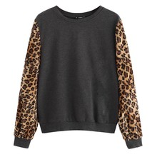 Sudaderas con capucha de leopardo de gran tamaño para mujer otoño 2019 Streetwear Casual Patchwork ropa para mujer sudaderas con capucha sudadera para mujer