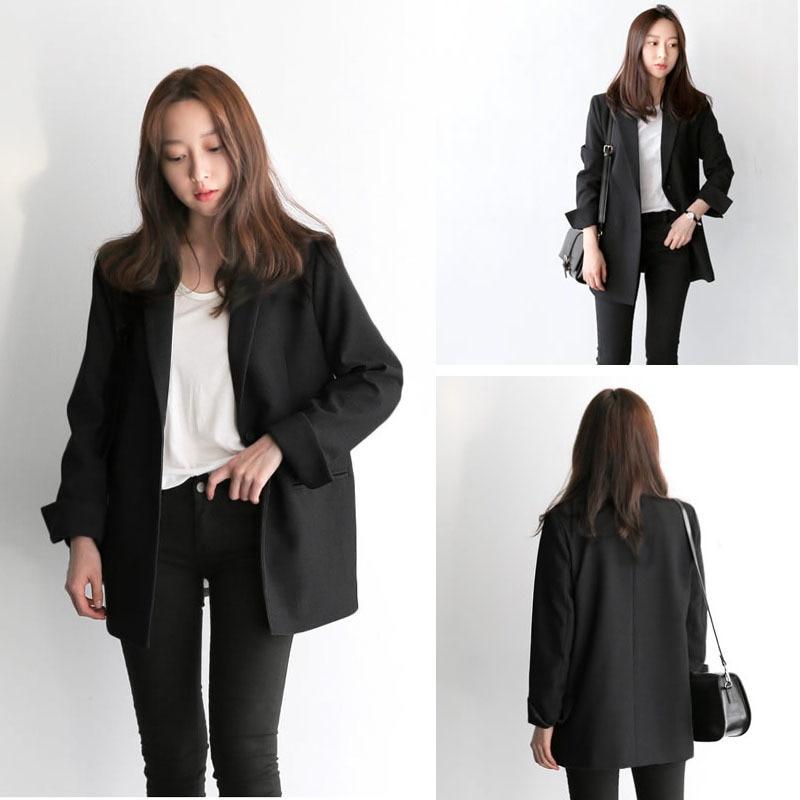2019 Elegant Black Single Button Women Blazer New Autumn Coats Vintage Solid Loose Office Work Wear Tops Outerwear Female Jacket