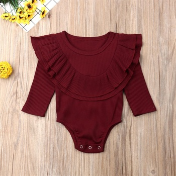 Ribbed Solid Long Sleeve Bodysuit -red-