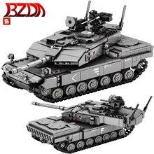 BZDA  WW2  Military Series Leopard 2A7 Main Battle Tank Survival  Warfare Soldier Weapon  Tank  Model Kit Toys For Children Gift