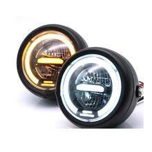 6.5 بوصة دراجة نارية مصابيح LED مستديرة هالو المصباح 12 فولت عالية شعاع العالمي المسافة ضوء مقهى Racer Motorcycle دراجة نارية كشافات لمبة
