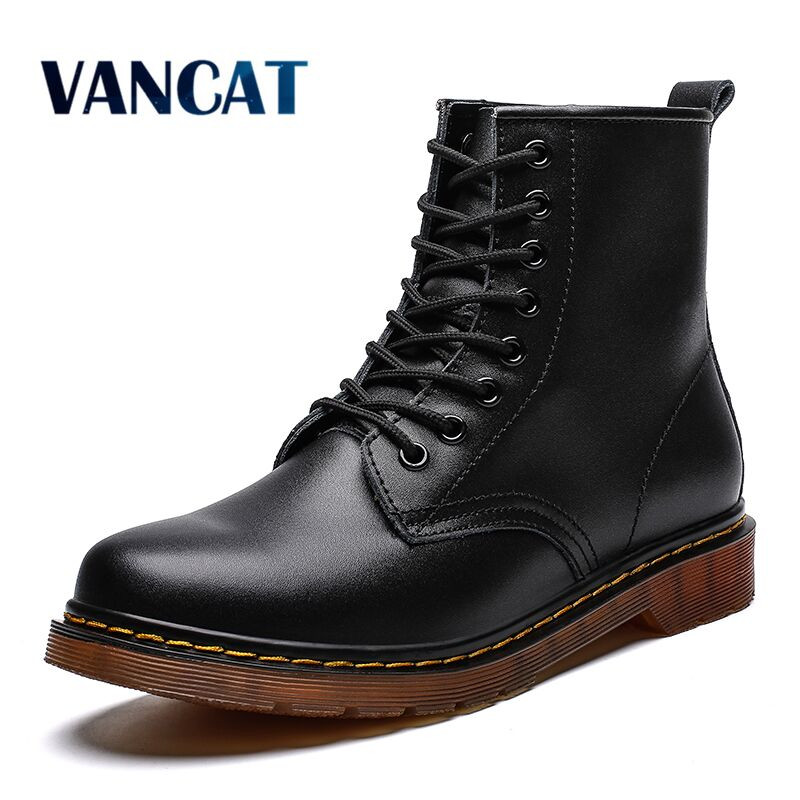 2019 High Quality Leather Men's Boots Winter Autumn Snow Boots Winter Fur Waterproof Ankle Boots Outdoor Work Boots Big Size 47
