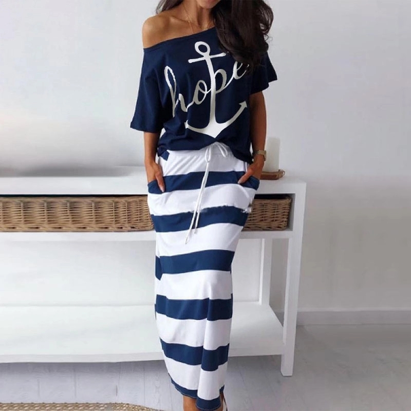 Summer Boat Anchor Top Print Stripe Dress Short Sleeve Off Shoulder Beach Skirts And Top Casual Loose  2 Piec O-Neck Women Set